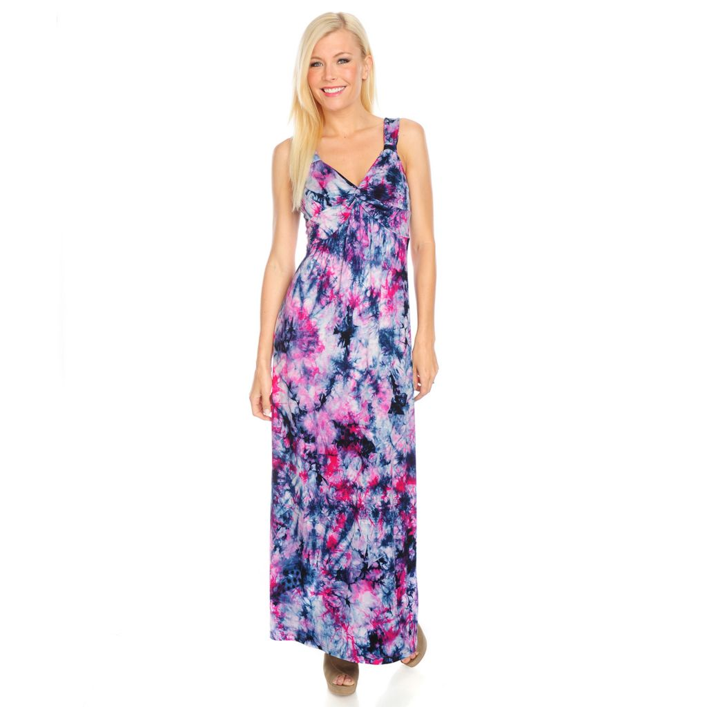 717-868 - Kate & Mallory Tie-Dyed Knit Sleeveless Knot Front Maxi Dress