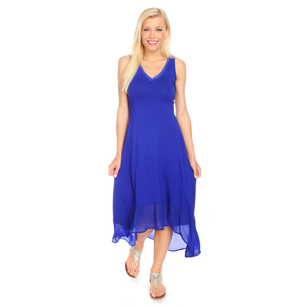 717-869 - Kate & Mallory Stretch Knit V-Neck Chiffon Hem Hi-Lo Dress