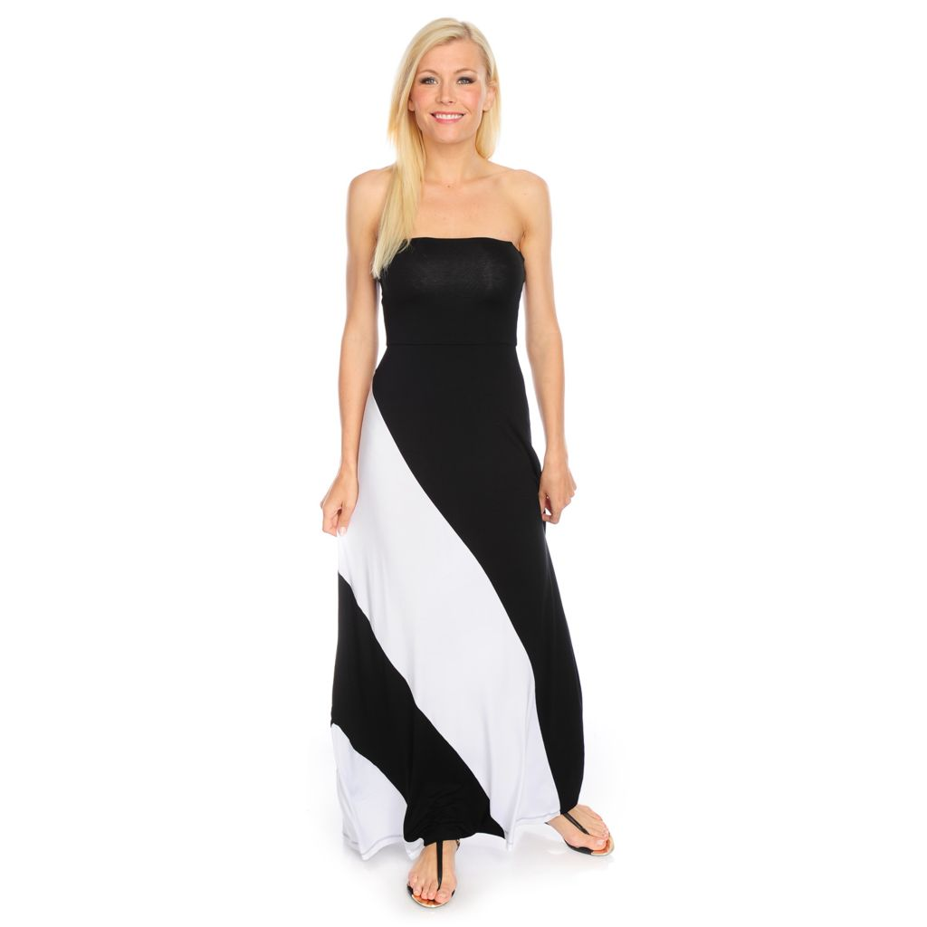 717-870 - Kate & Mallory Stretch Knit Strapless Color Block Bandeau Maxi Dress