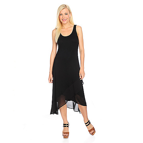 717-871 - Kate & Mallory Stretch Knit Sleeveless Asymmetrical Chiffon Trim Dress
