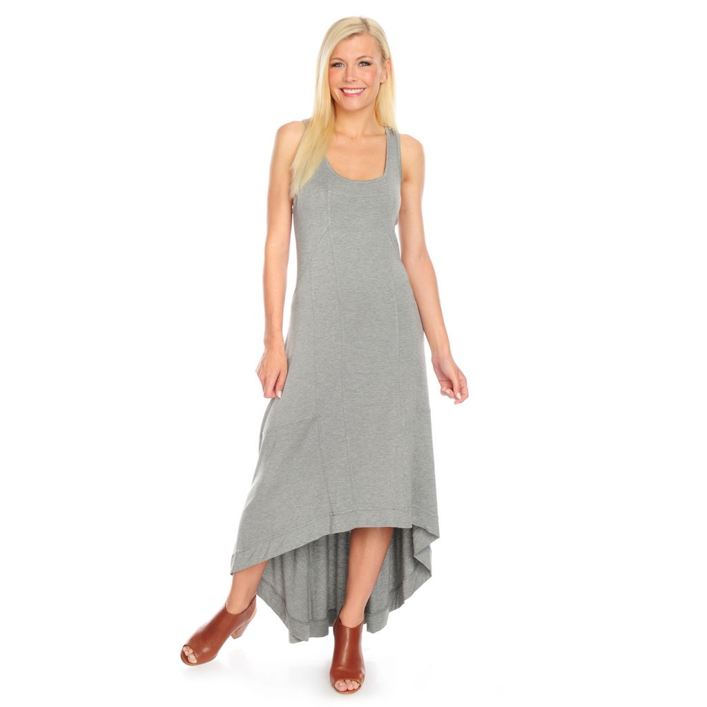 717-872 - Kate & Mallory Stretch Knit Sleeveless Pieced Hi-Lo Maxi Dress