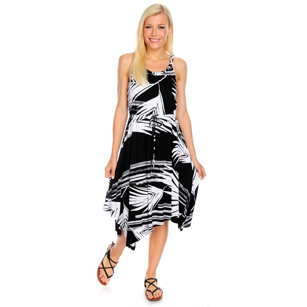717-876 - Kate & Mallory Printed Knit Sleeveless Asymmetrical Hem Twisted Neck Dress