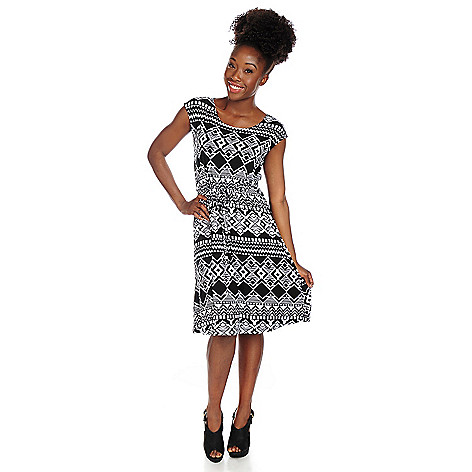 717-877 - Kate & Mallory® Printed Knit Cap Sleeved Drawstring Waist Knee Length Dress