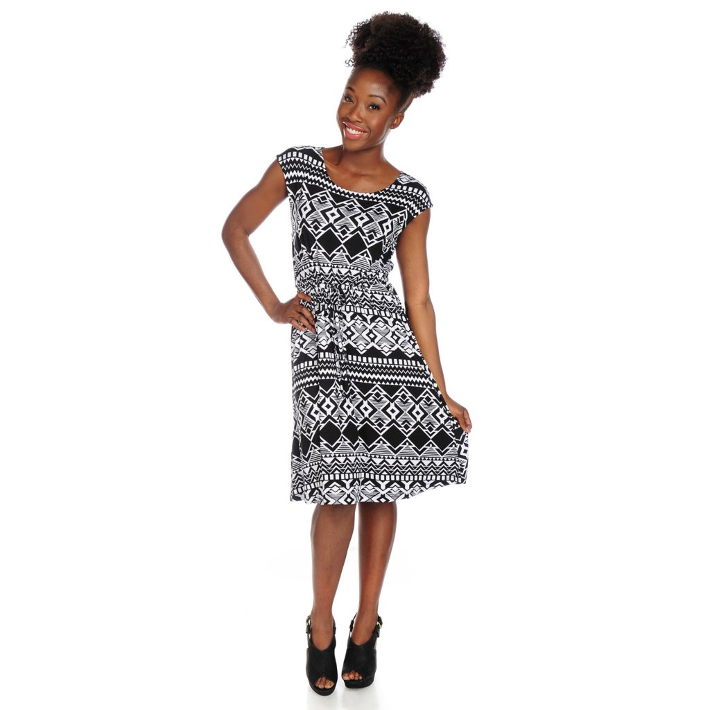 717-877 - Kate & Mallory Printed Knit Cap Sleeved Drawstring Waist Knee Length Dress