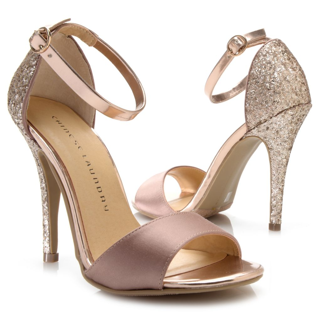 717-879 - Chinese Laundry Metallic Ankle Strap Glitter Heels