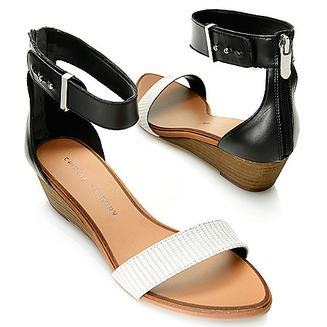 717-881 - Chinese Laundry Reptile Embossed & Smooth Leather Ankle Strap Demi Wedge Sandals