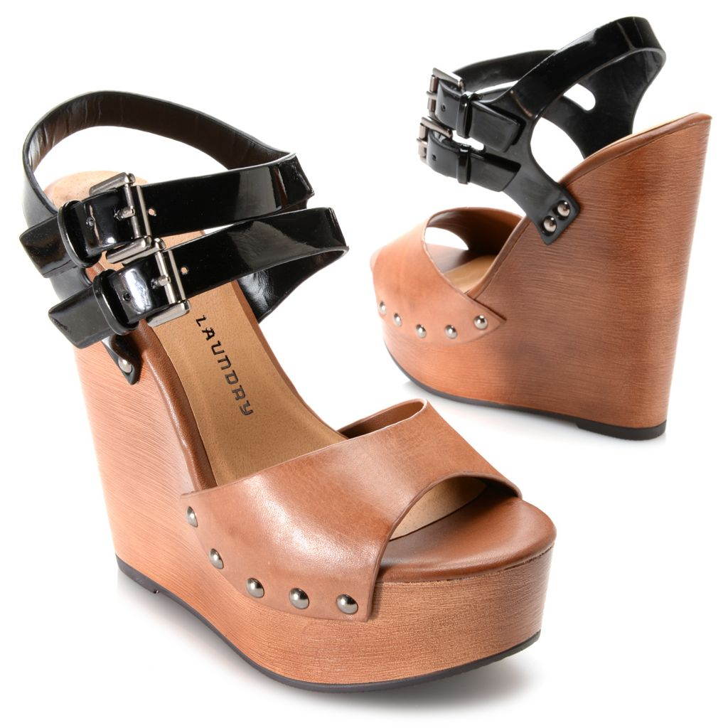 717-884 - Chinese Laundry Double Strap Buckle & Stud Detailed Platform Wedge Sandals