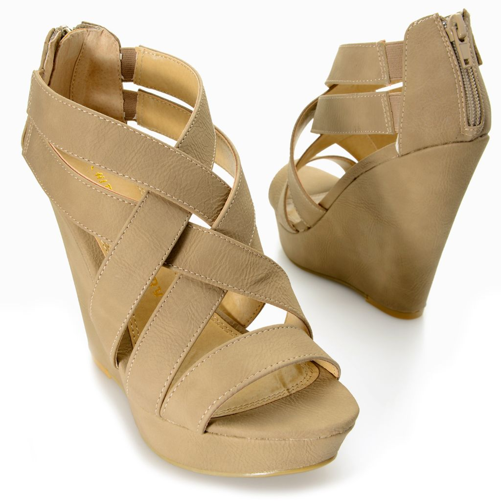 717-885 - Chinese Laundry Crisscross Back Zip Wedge Sandals