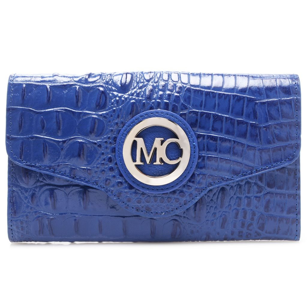 717-891 - Madi Claire Croco Embossed Leather Flap-over Wallet