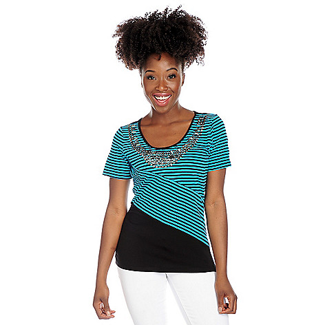 717-896 - Glitterscape® Stretch Knit Short Sleeve Spliced Stripe Embellished Top