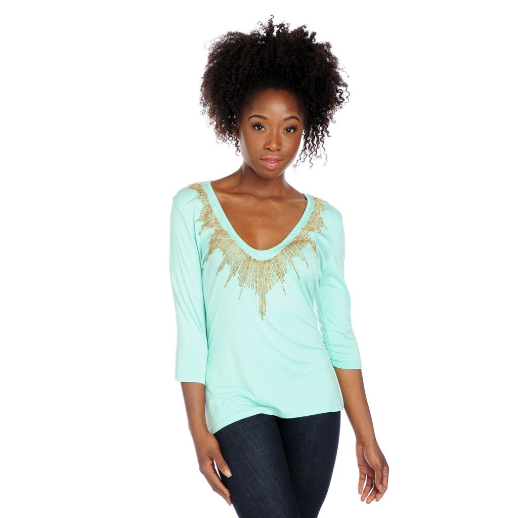 717-899 - Glitterscape Stretch Knit 3/4 Sleeved Embellished V-Neck Top