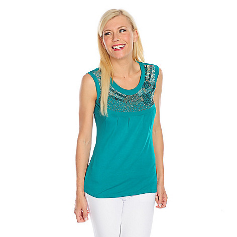 717-900 - Glitterscape® Stretch Knit Scoop Neck Pleated Detail Embellished Tank