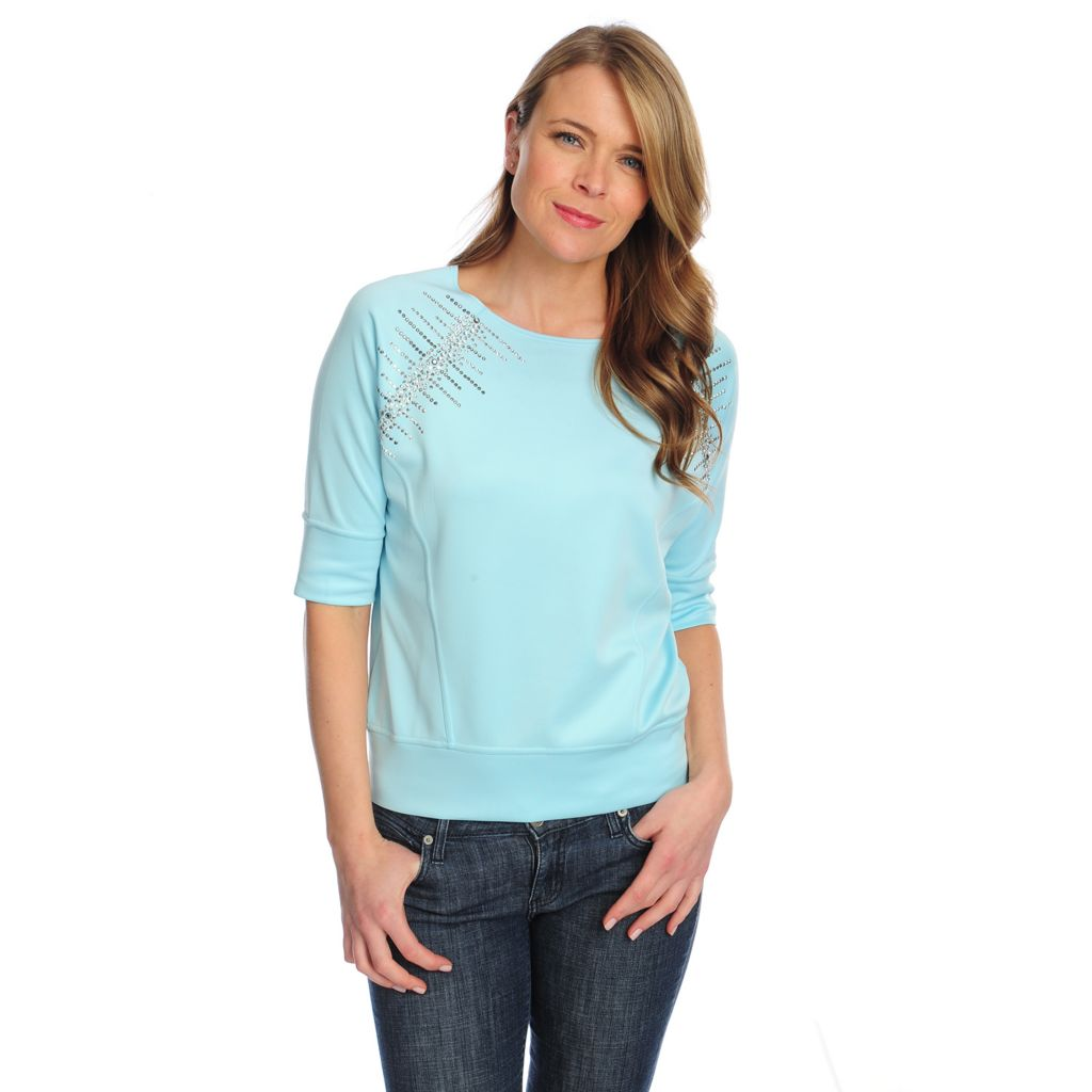 717-912 - Love, Carson by Carson Kressley Scuba Knit Raglan Sleeved Embellished Top