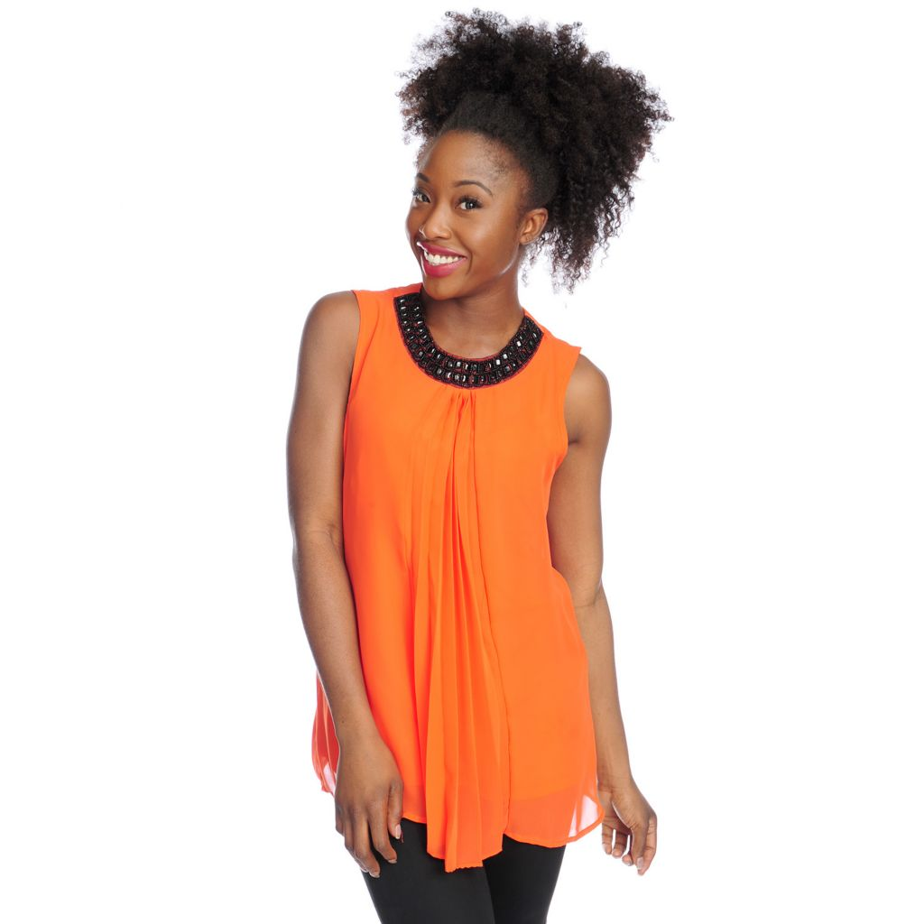 717-914 -  Love, Carson by Carson Kressley Chiffon Sleeveless Pleated Front Top