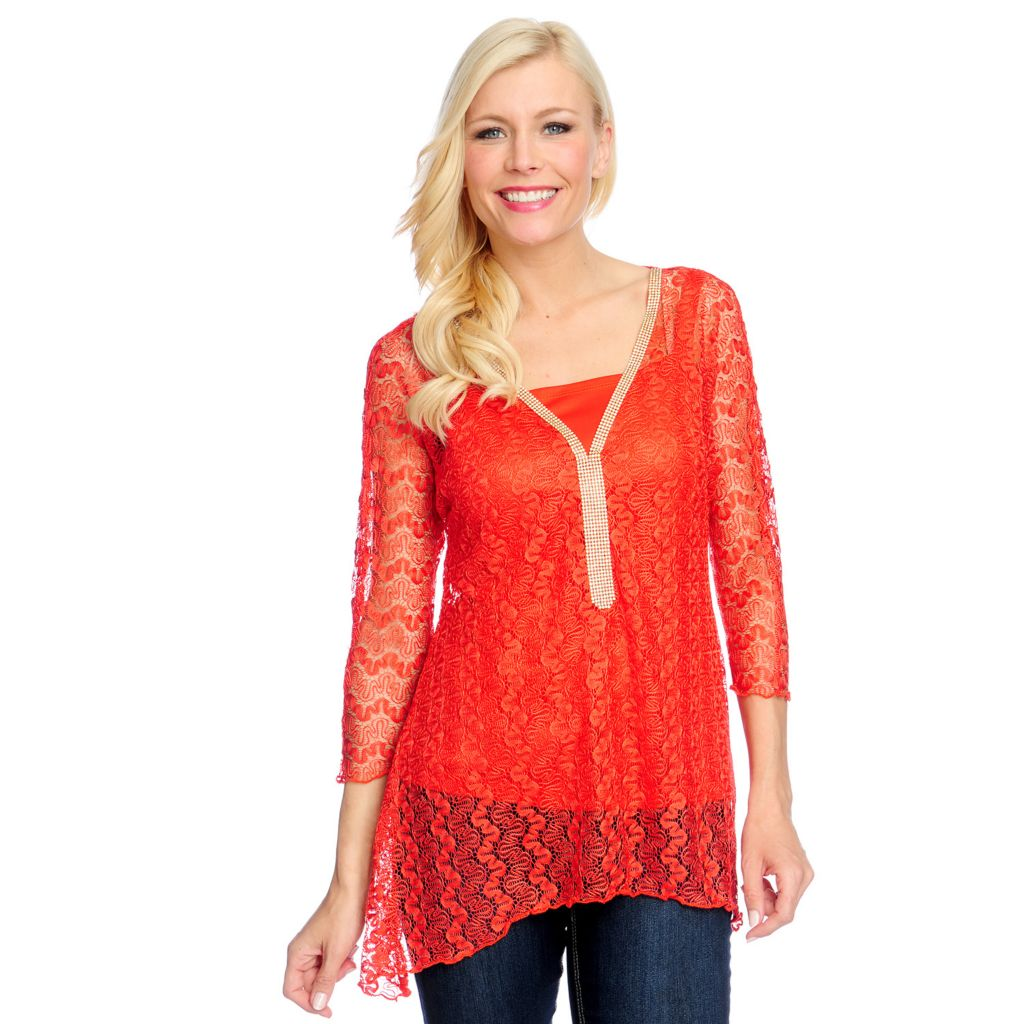 717-916 - Love, Carson by Carson Kressley Embellished Lace Sharkbite Top w/ Knit Tank