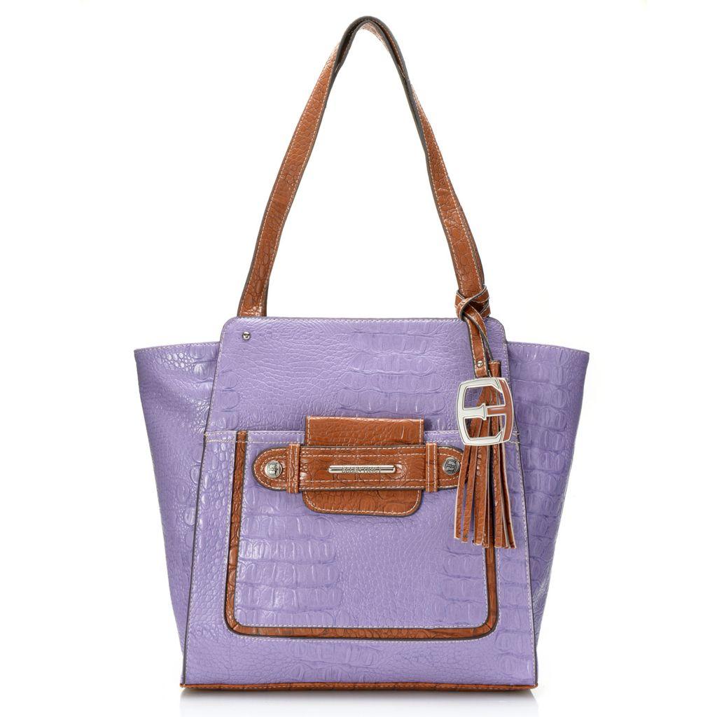 717-935 - Ellen Tracy Croco Embossed Double Handle Secret Pocket Shopper Tote Bag