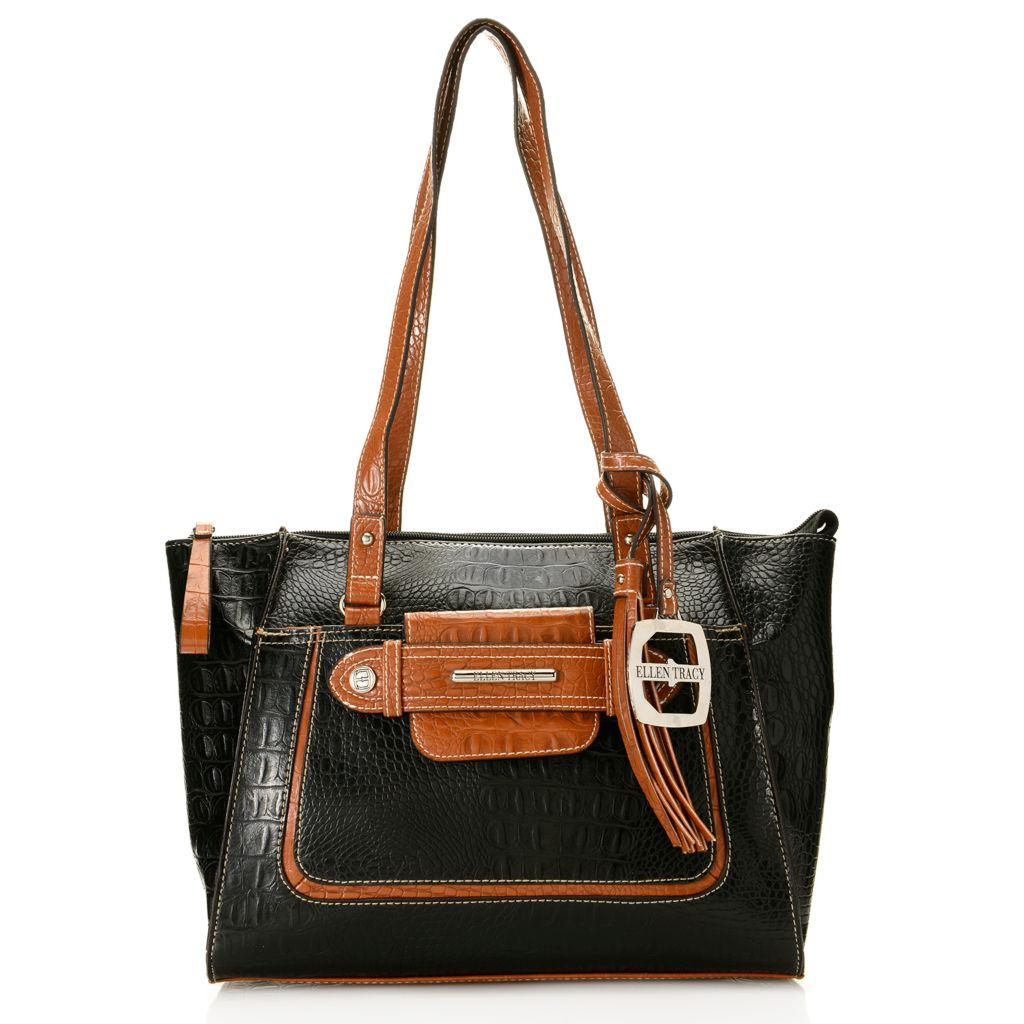 717-936 - Ellen Tracy Croco Embossed Double Handle Zip Top Satchel