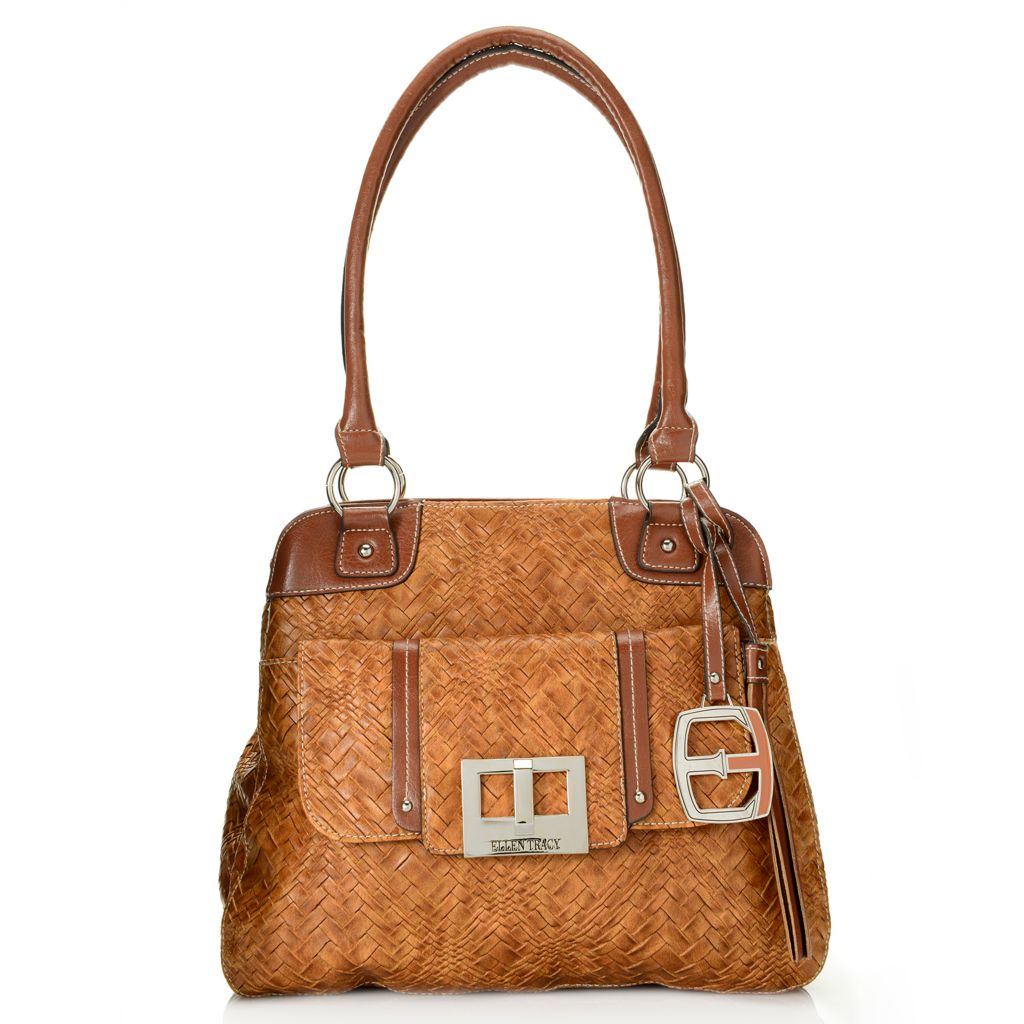 717-946 - Ellen Tracy Woven Embossed Double Handle Multi Compartment Satchel