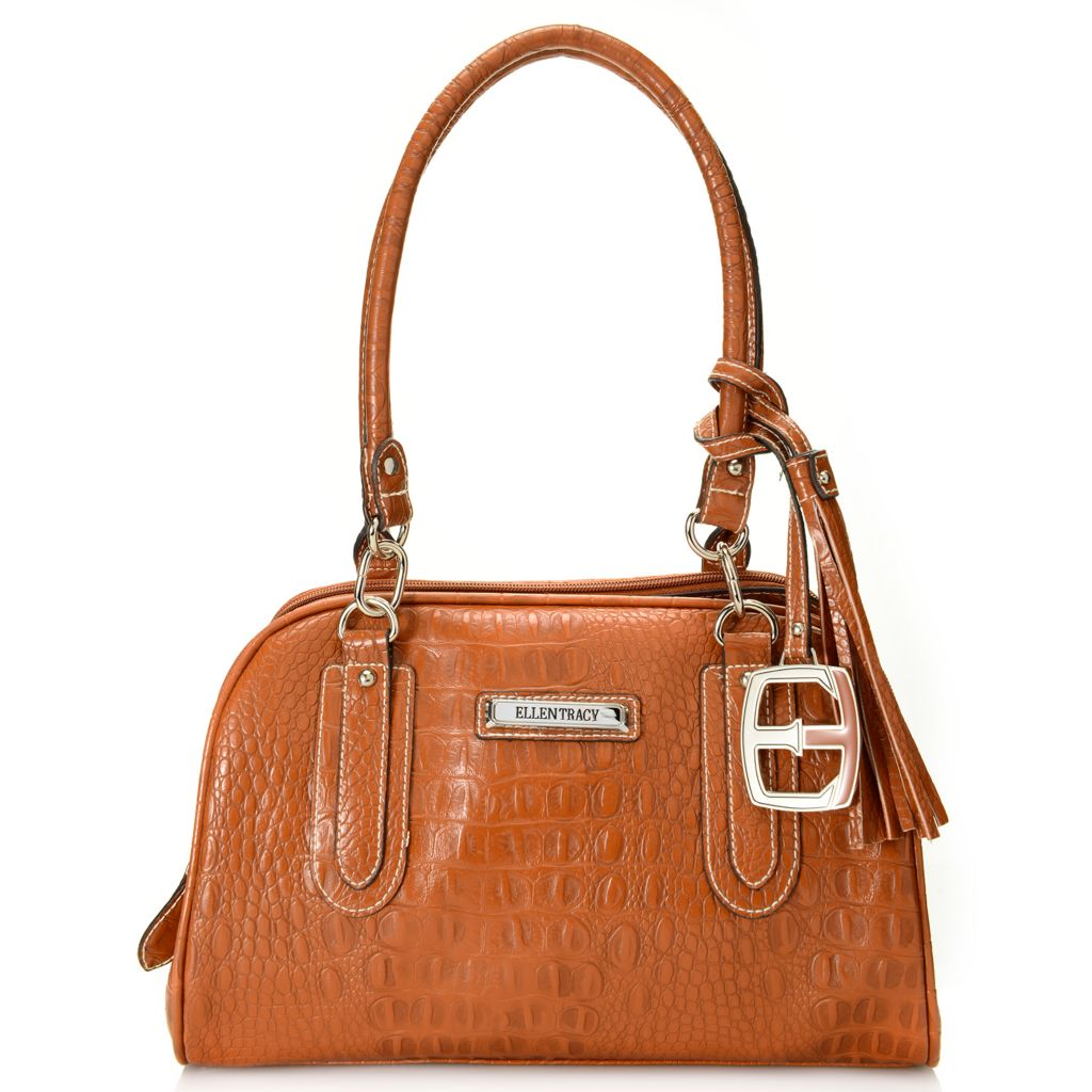 717-955 - Ellen Tracy Croco Embossed Double Handle Multi Compartment Dome Satchel