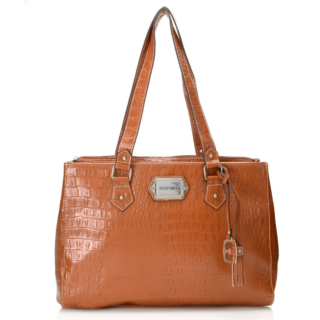 717-956 - Ellen Tracy Croco Embossed Five-Compartment Tote Bag w/ Padded Pocket