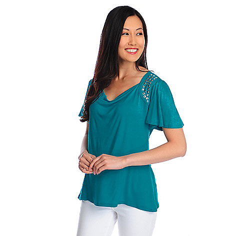 717-961 - Glitterscape® Stretch Knit Flutter Sleeve Studded Shoulder Draped Neck Top