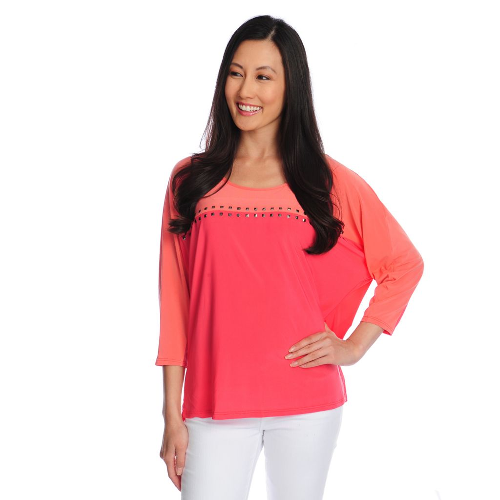 717-963 - Glitterscape Stretch Knit Dolman Sleeved Color Block Stud Detailed Top