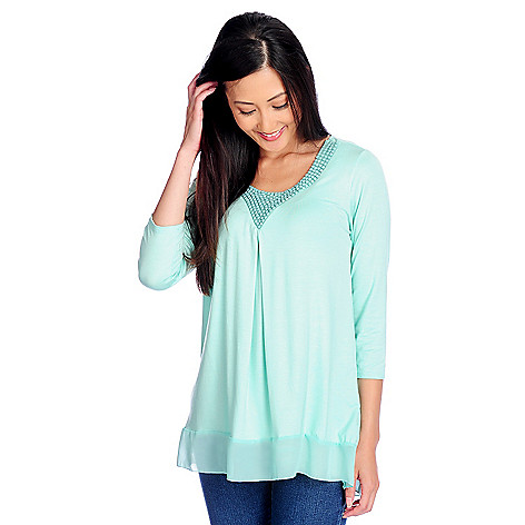 717-964 - Glitterscape® Knit Chiffon Combo 3/4 Sleeve Inverted Pleat Embellished Top