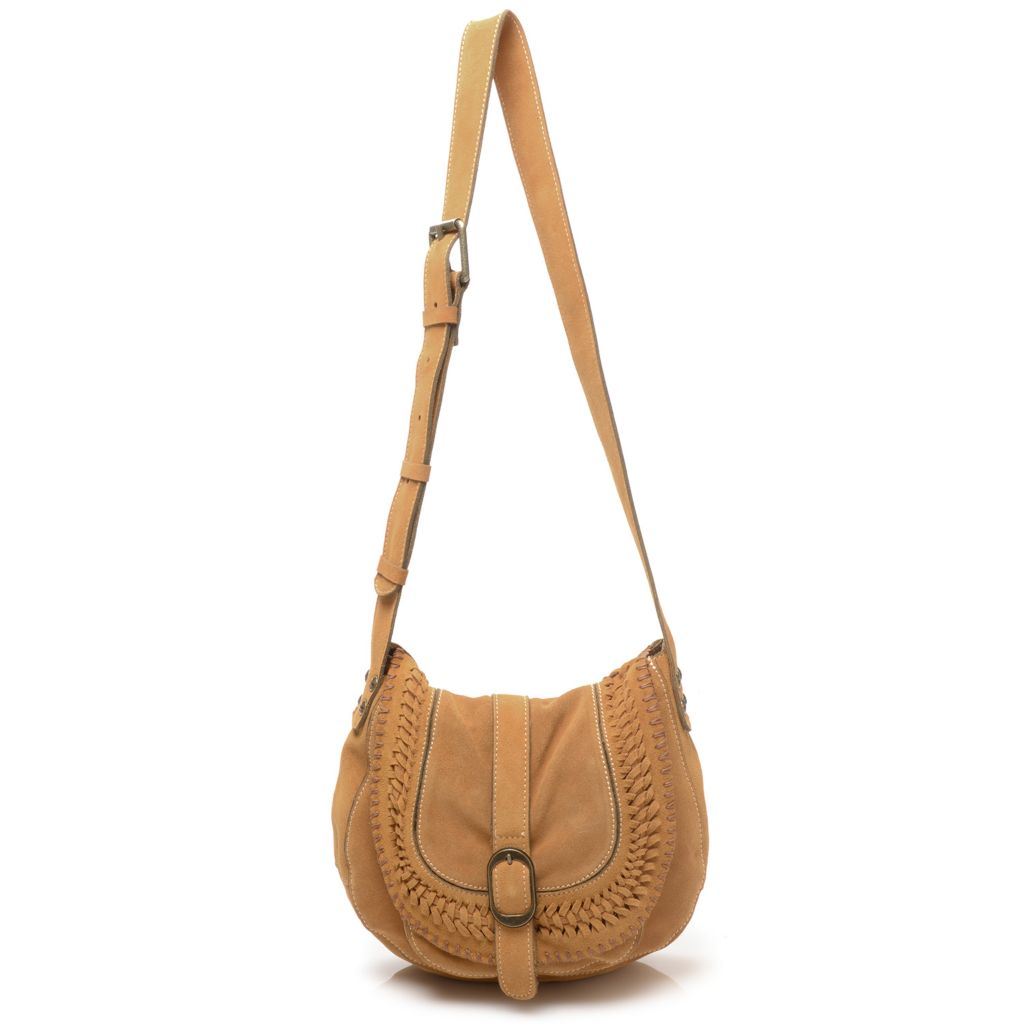 717-972 - Patricia Nash Suede Leather Woven Detailed Flap-over Cross Body Saddle Bag