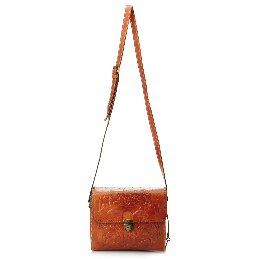 717-975 - Patricia Nash Tooled Leather Flap-over Cross Body Bag