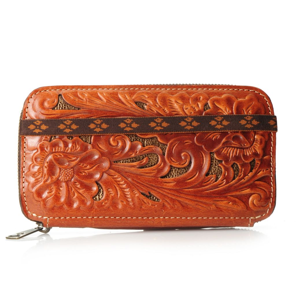 717-976 - Patricia Nash Leather Tooled & Laser Cut Floral Design Zip Around Flap Wallet
