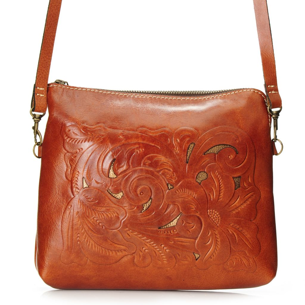 717-977 - Patricia Nash Tooled, Laser Cut & Metallic Leather Zip Top Square Cross Body Bag