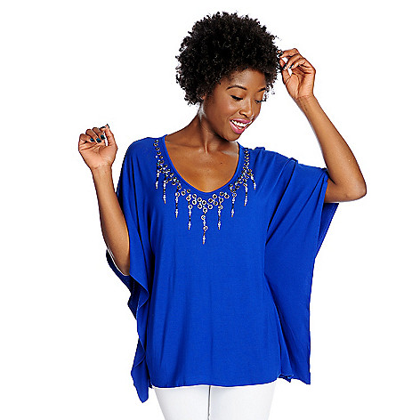 717-992 - Glitterscape® Stretch Knit Beaded V-Neck Poncho Top