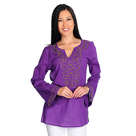 717-993 - Glitterscape® Cotton Voile Long Sleeved Embellished Bib Notch Neck Tunic