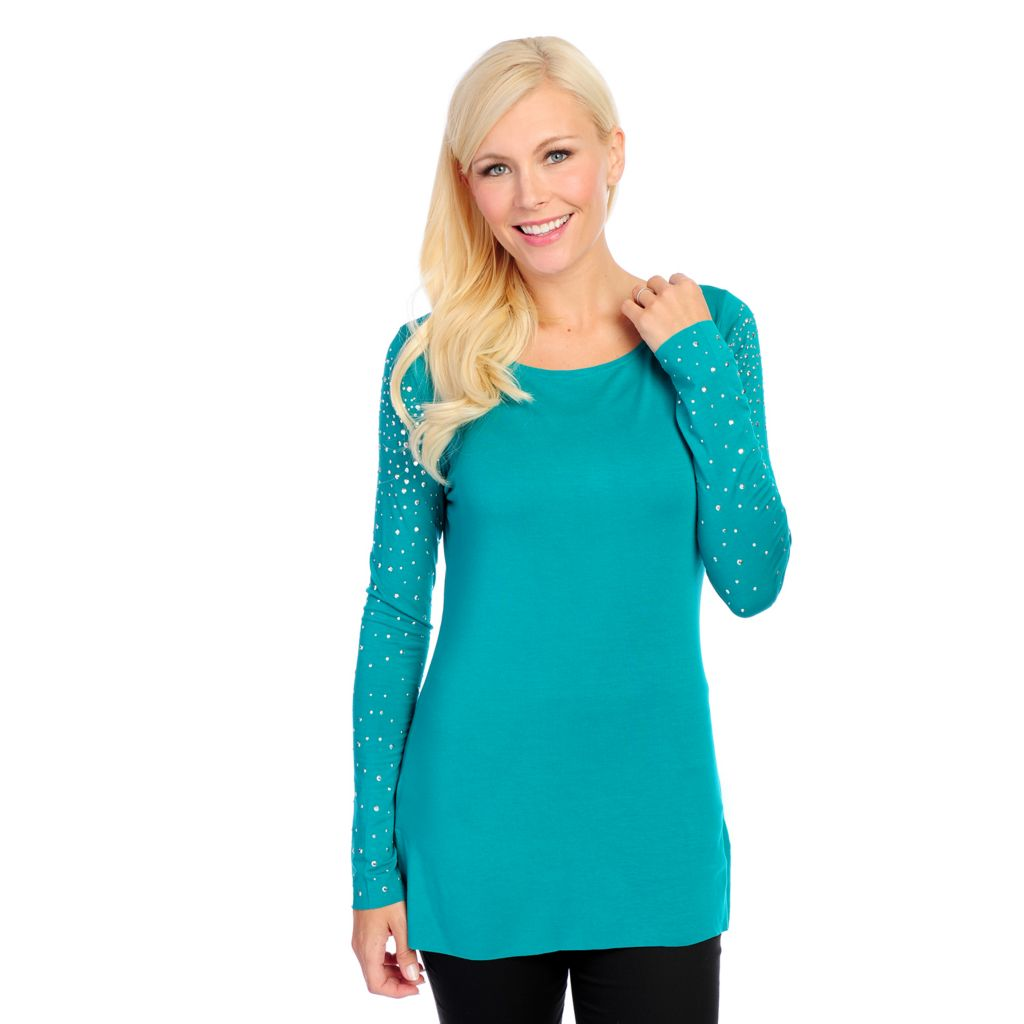 717-994 - Glitterscape Stretch Knit Long Sleeved Embellished Wide Neck Top