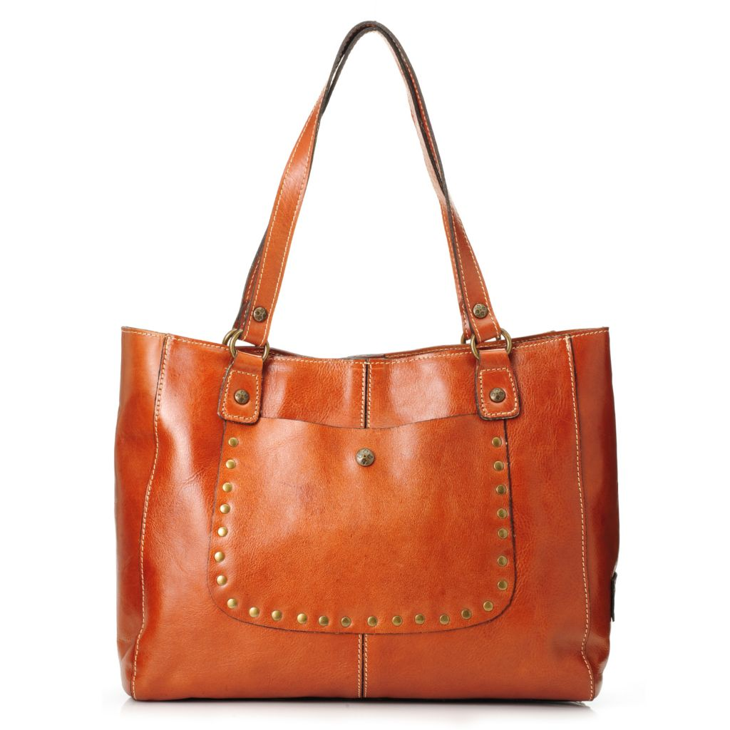 717-997 - Patricia Nash Leather Double Handle Studded Front Pocket Tote Bag