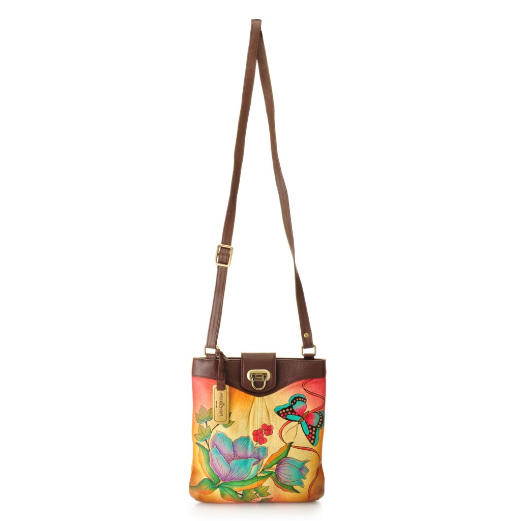 718-004 - Anuschka Hand-Painted Leather Fold Lock North-South Cross Body Bag
