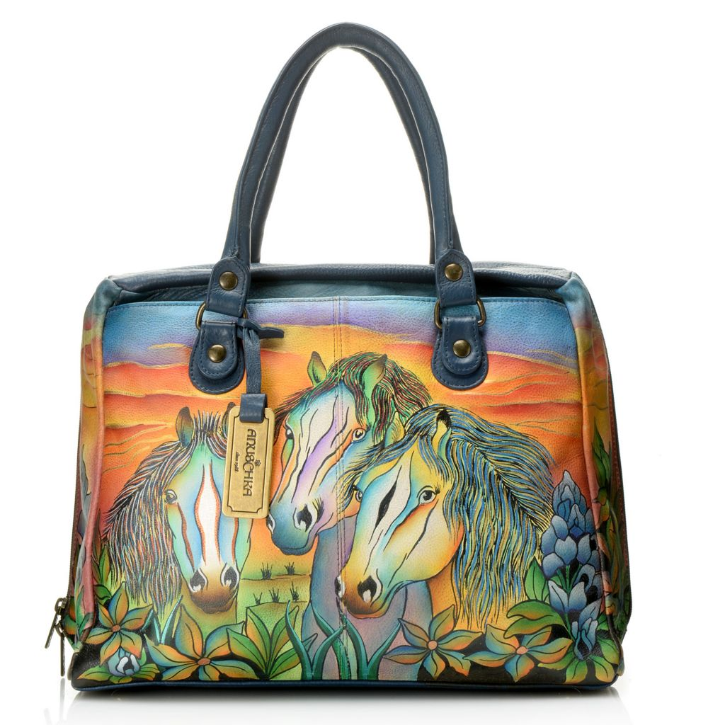 718-007 - Anuschka Hand-Painted Leather Double Handle Zip Around Large Satchel