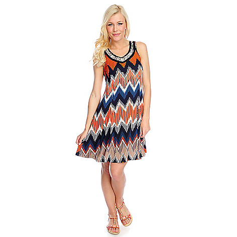 718-013 - Kate & Mallory Printed Knit Sleeveless Embellished Neck Flip Flop Dress