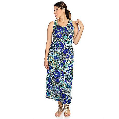 718-028 - aDRESSing WOMAN Stretch Knit Sleeveless Gold-tone Chain Maxi Dress