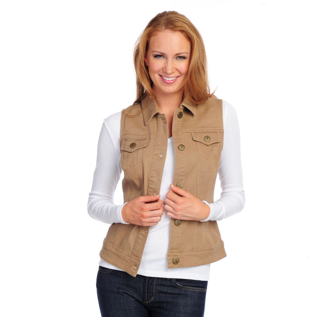 718-038 - OSO Casuals Brushed Twill Decorative Button Front Collared Vest