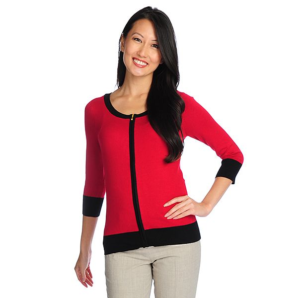 718-048 - Gramercy 22™ Fine Gauge Knit 3/4 Sleeved Contrast Trim Zip Front Cardigan