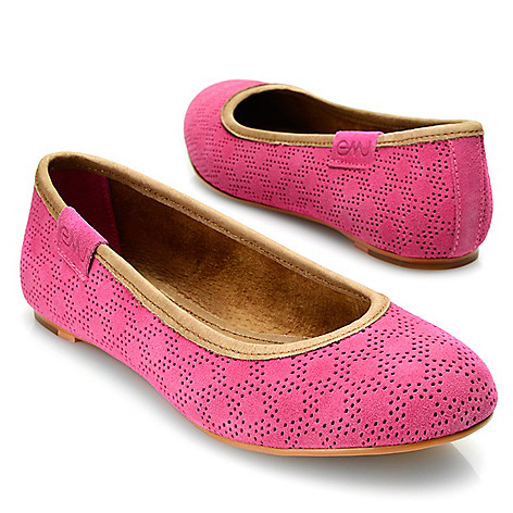 718-057 - EMU Suede Leather Perforated Slip-on Ballet Flats