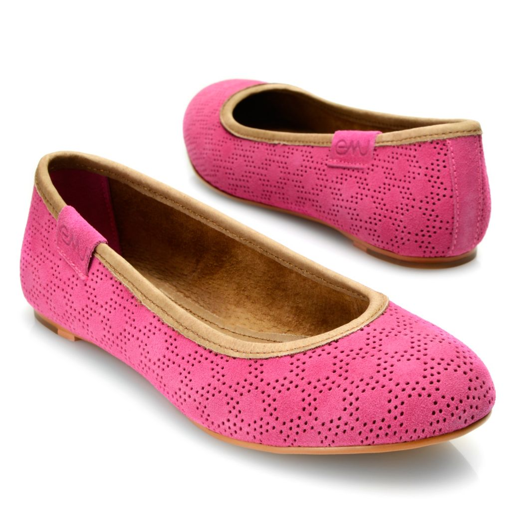 718-057 - EMU® Suede Leather Perforated Slip-on Ballet Flats