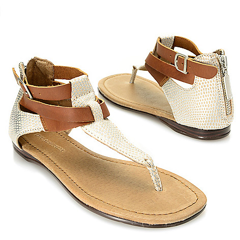 718-058 - EMU ''Burnberry'' Crisscross Ankle Strap Back Zip Thong Sandals