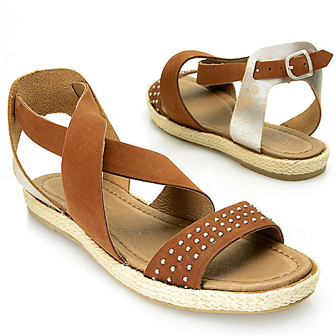 718-060 - EMU ''Mirani'' Suede Leather Studded Crisscross Ankle Strap Sandals