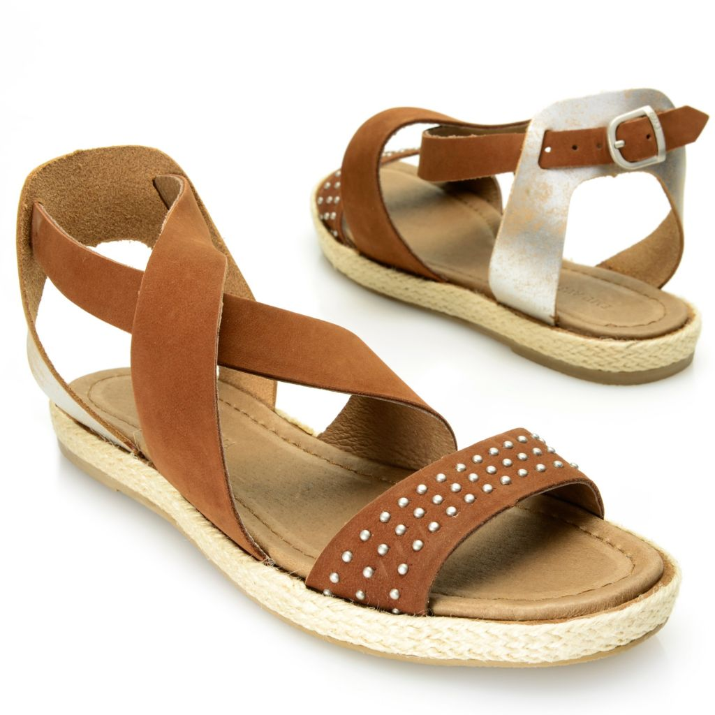718-060 - EMU® Suede Leather Studded Crisscross Ankle Strap Sandals