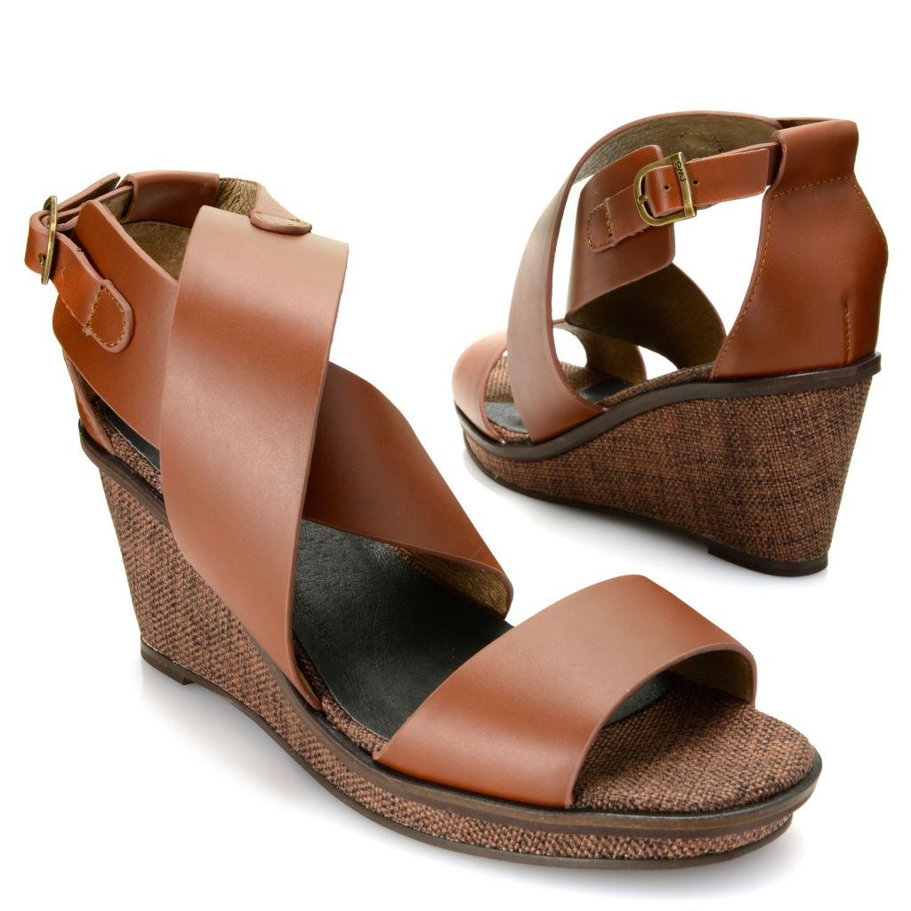 718-061 - EMU® Leather Crisscross Wrapped Wedge Sandals