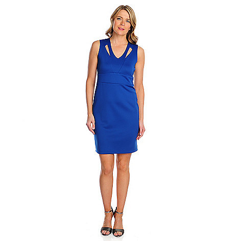 718-062 - The Countess Collection Ponte Knit Cut-out V-Neck Dress
