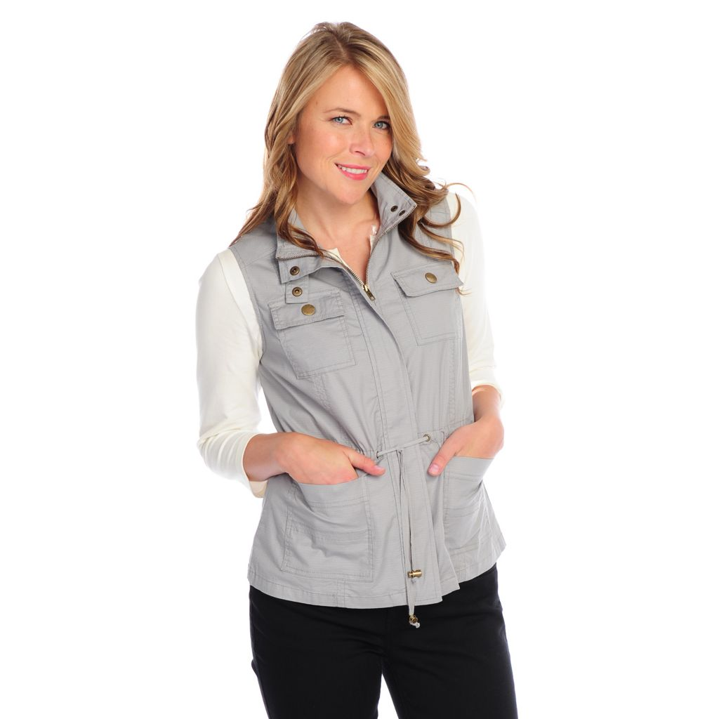 718-071 - OSO Casuals Stretch Ripstop Drawstring Waist Covered Zip Front Equipment Vest