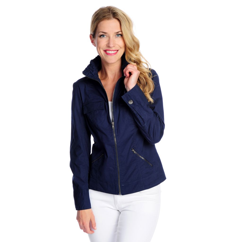 718-072 - OSO Casuals Stretch Ripstop Ruched Collar Zip Front Lightweight Jacket